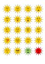 Set of sun shape emoticons, collection of vector emoji.