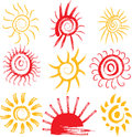 Set of sun signs hand drawn symbols Royalty Free Stock Photos