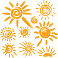 Set of  sun symbols Stock Photos