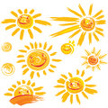 Set of sun symbols with smile Royalty Free Stock Photo