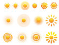 Set of sun. Vector. Royalty Free Stock Photo