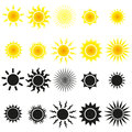 Set of sun vectors in yellow and black Stock Image