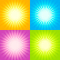 Set of sunburst backgrounds four abstract illustration Royalty Free Stock Photos