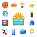 Set of sunday school, sikh, free brain, phone, made in texas, globe, s, lithium battery, eagle head icons Royalty Free Stock Photo