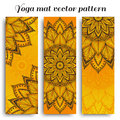 Set of sunny yoga mat vector pattern