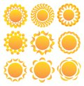 Set of suns. Stock Photo