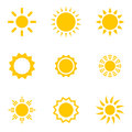 Set of suns collection isolated objects on white background Stock Images