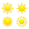 Set of suns glossy vector illustration Stock Photo