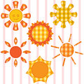 Set of suns quilting applique Stock Photography