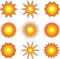 Set of suns shiny sun images on white vector illustration Stock Images
