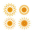 Set of suns on a white background