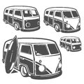 Set of surf car and surfer bus for emblems ,logo and prints. Royalty Free Stock Photo