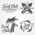 Set of Surf club concept Vector Summer surfing retro badge. Surfer club emblem , outdoors banner, vintage background. Boards, pal Royalty Free Stock Photo