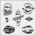 Set of surf van labels, badges and design elements. Travel retro bus. Summer vacation.