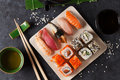 Set of sushi, maki and green tea Royalty Free Stock Photo