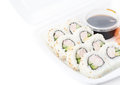 Set of sushi rolls isolated