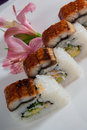 Set of sushi rolls on white plate Royalty Free Stock Images