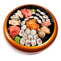 Set of sushi in wooden circle plate Stock Photos