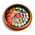 Set of sushi in wooden circle plate Royalty Free Stock Images