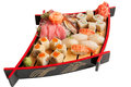 Set of sushi on a wooden plate Stock Images