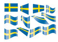 Set of Swedish flags Royalty Free Stock Photo