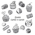 Set of sweet cakes and sweets vector illustration for your design Stock Photo