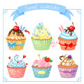 Set with sweet cupcake