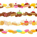 Set of sweet food seamless horizontal borders candy chocolate sweets lollipop cake donut macaroon cookie jelly Royalty Free Stock Photos
