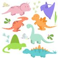 Set with sweet and funny dinosaurs
