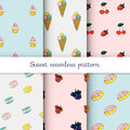 Set of sweet patterns. Collection of seamless backgrounds with i Royalty Free Stock Photo