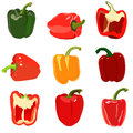 Set of sweet pepper isolated on white Stock Photography