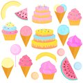 A set of sweet treats. Birthday cake with candles, ice-cream in a waffle cone, lollipop, cupcake, slices of watermelon, melons,