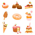 Set of sweets and cakes illustrations Royalty Free Stock Photo