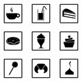 Set of sweets icons. Party food and deserts: ice cream, juice, croissant, lollipop, cupcake, popsicle, chocolate, milkshake, donut