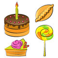 Set of sweets vector illustration a in colour Stock Photo