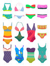 Set of swimwears womens isolated on white background Royalty Free Stock Photo