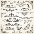 Set of Swirl Elements for design. Calligraphic page decoration, Labels, banners, antique and baroque Frames floral Royalty Free Stock Photo