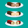 Set of Swiss roll on dish in flat style