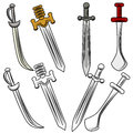 Set of swords an image different Royalty Free Stock Photography