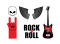 Set symbol rock music . Skull and wings, guitar and rock hand si Royalty Free Stock Photo