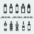 Set of symbols bottle alcohol Royalty Free Stock Photo