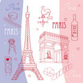 Set of symbols of Paris Royalty Free Stock Photography