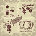 Set symbols on the theme of grapes, and wine