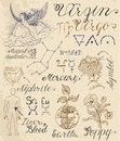 Set of symbols for zodiac sign Virgin or Virgo Royalty Free Stock Photo