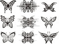 Set of symmetric butterfly tattoos Royalty Free Stock Images