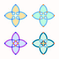 Set of 4 symmetric geometric shapes.