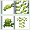 Set for t-shirt design seamless pattern Pond slider turtle green