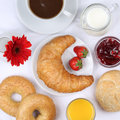Set table with breakfast and coffee, orange juice from above Royalty Free Stock Photo