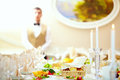 Set table in luxury restaurant colors Stock Photos