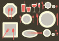 Set of table ware on brown backgrounds Royalty Free Stock Photo